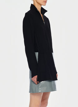 Modern Drape Zip-Up Top Black-2