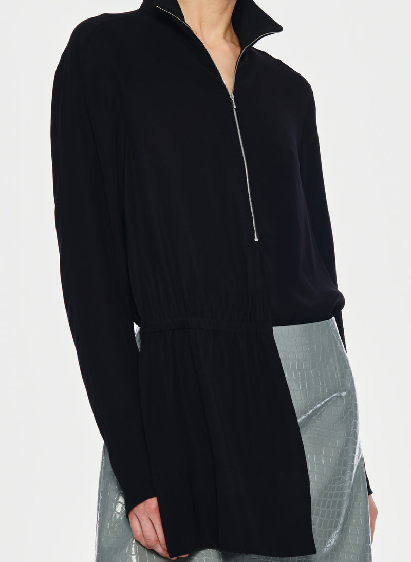 Modern Drape Zip-Up Top Black-5