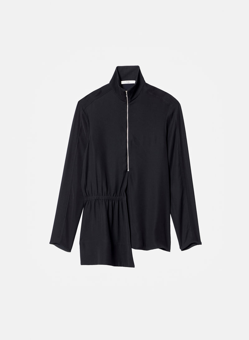 Modern Drape Zip-Up Top Black-7