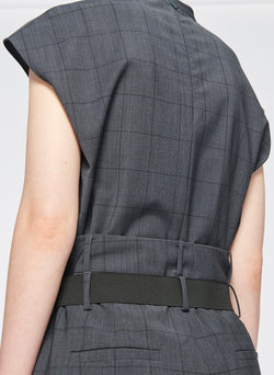 Menswear Windowpane Mockneck Sleeveless Top Grey Multi-6