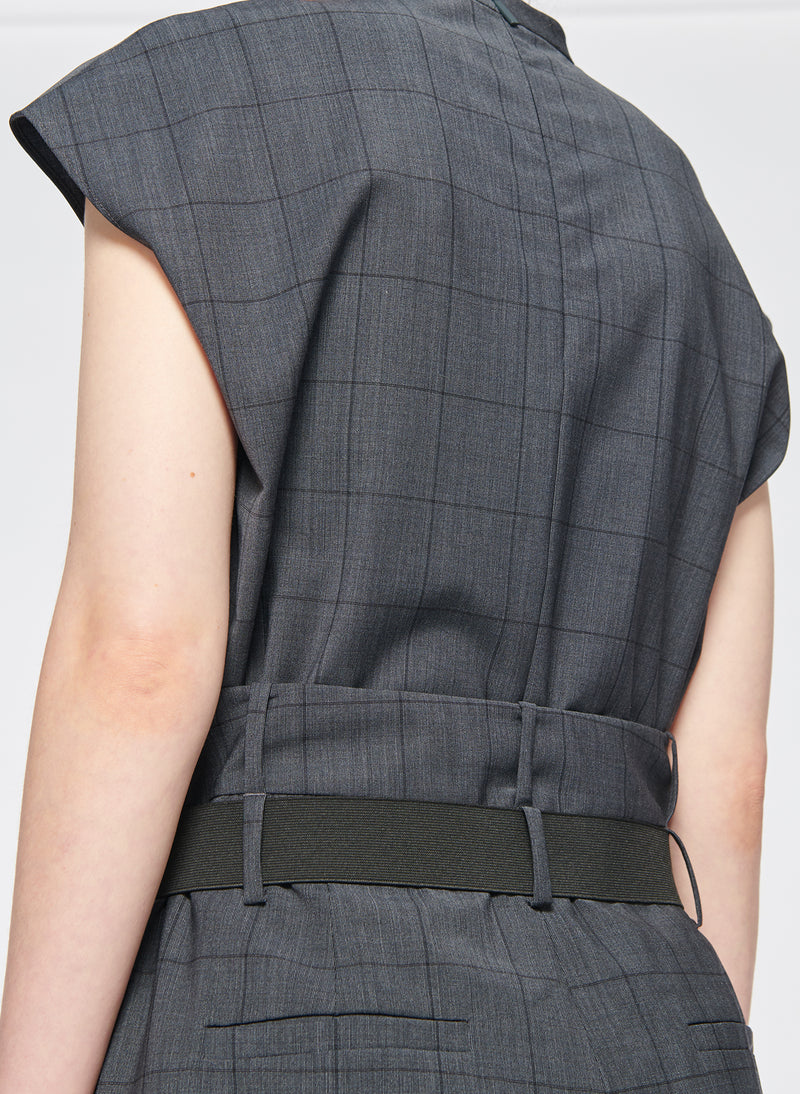 Menswear Windowpane Mock Neck Sleeveless Top Grey Multi-6