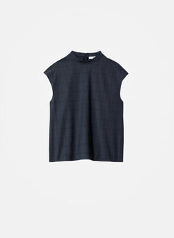 Menswear Windowpane Mock Neck Sleeveless Top Grey Multi-7