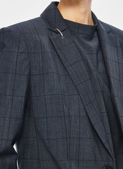 Menswear Windowpane Blazer Grey Multi-4