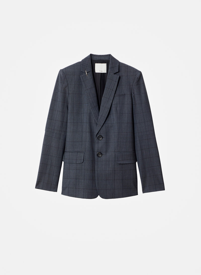 Menswear Windowpane Blazer Grey Multi-9