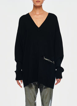 Mockrib V-Neck Tunic Sweater Black-2