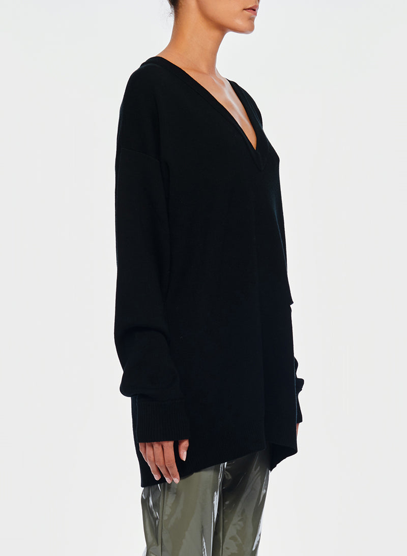 Mockrib V-Neck Tunic Sweater Black-3
