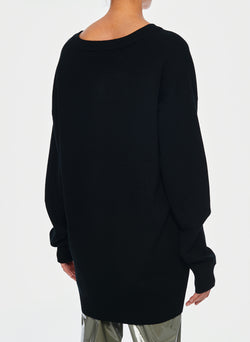 Mockrib V-Neck Tunic Sweater Black-8
