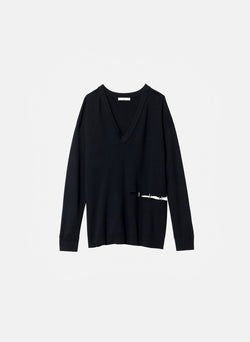 Mockrib V-Neck Tunic Sweater Black-7