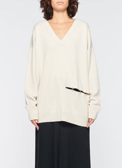 Mockrib V-Neck Tunic Sweater Stone-9