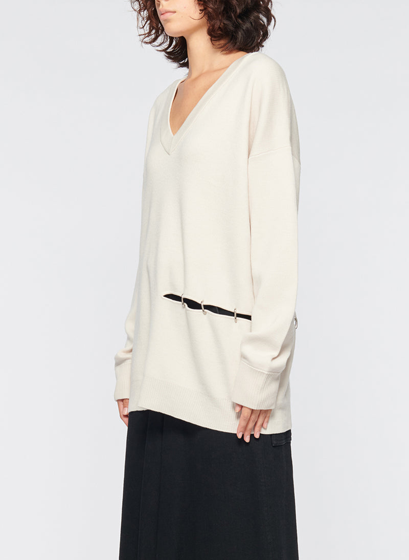 Mockrib V-Neck Tunic Sweater Stone-10