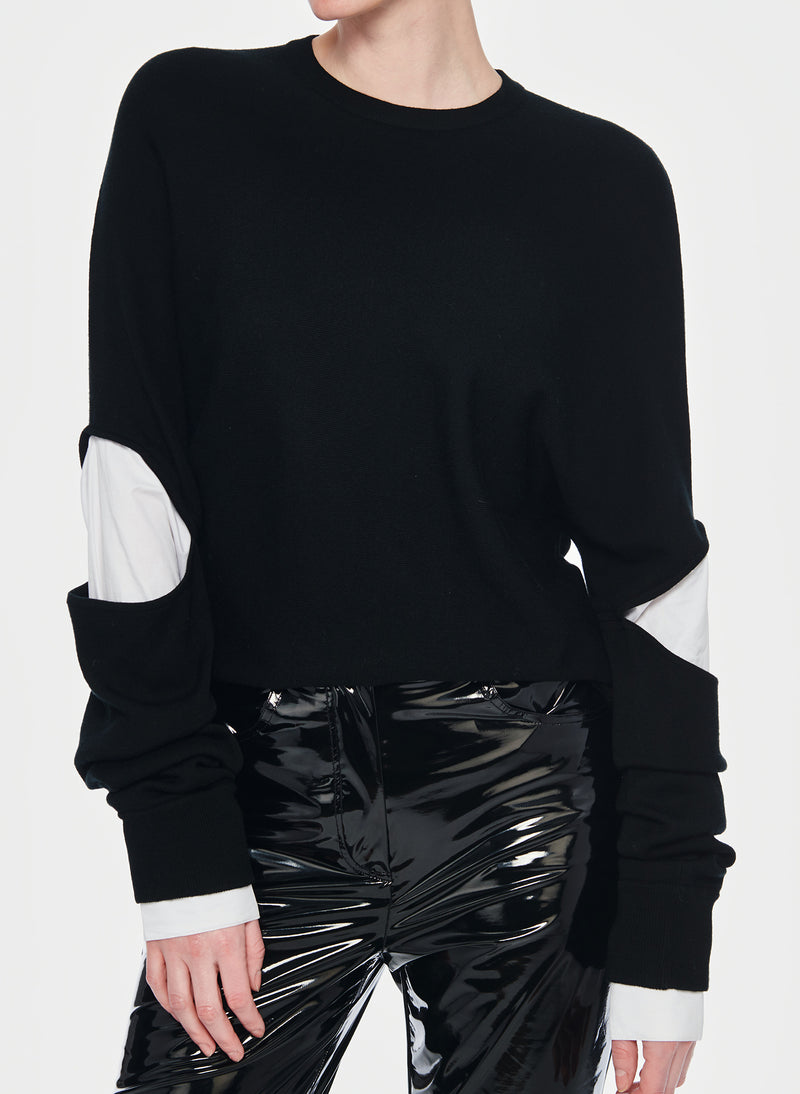 Mockrib Sweater Double Layer Slit Sleeve Pullover Black/White Multi-5