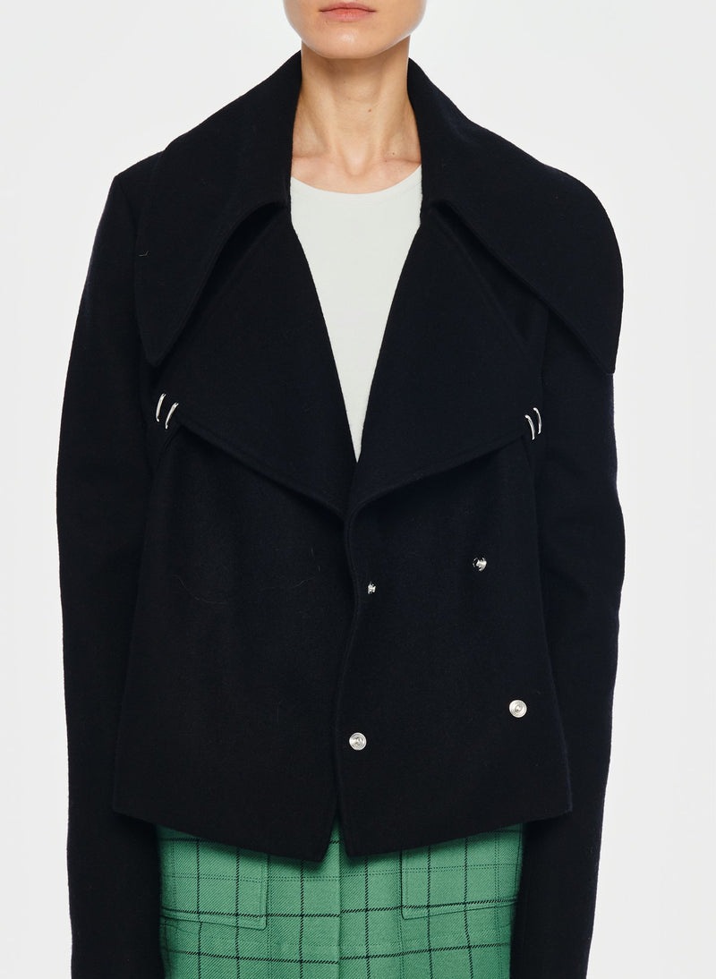 Recycled Wool Cropped Peacoat Black-1