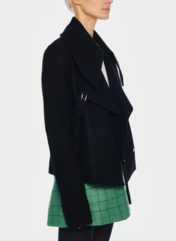Recycled Wool Cropped Peacoat Black-9