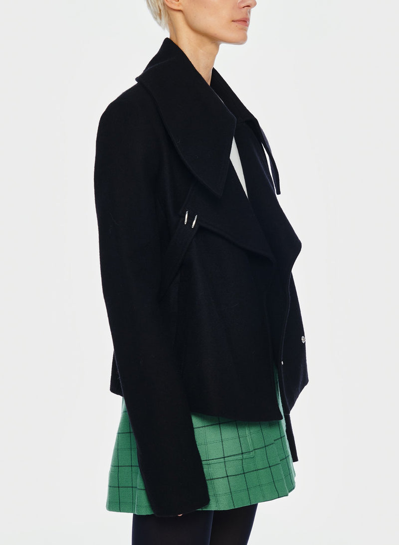 Recycled Wool Cropped Peacoat Black-2