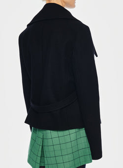 Recycled Wool Cropped Peacoat Black-10