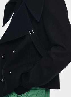 Recycled Wool Cropped Peacoat Black-12
