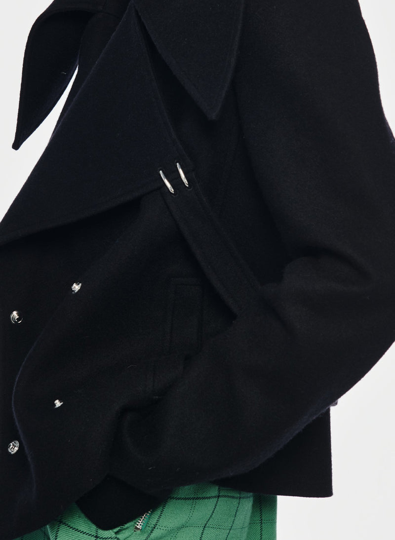 Recycled Wool Cropped Peacoat Black-5