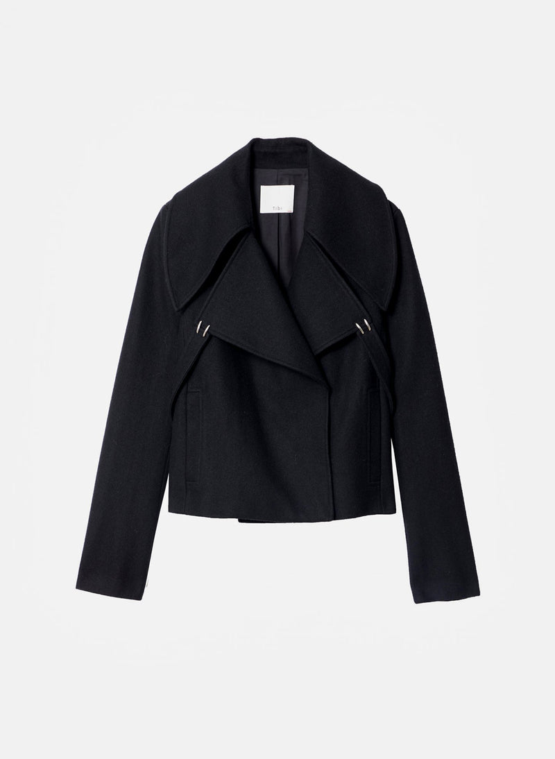 Recycled Wool Cropped Peacoat Black-7