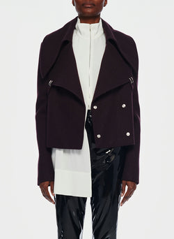 Recycled Wool Cropped Peacoat Plum Brown-9