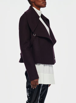 Recycled Wool Cropped Peacoat Plum Brown-2