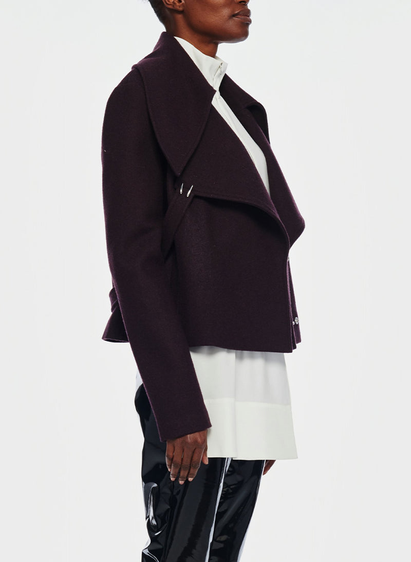 Recycled Wool Cropped Peacoat Plum Brown-10