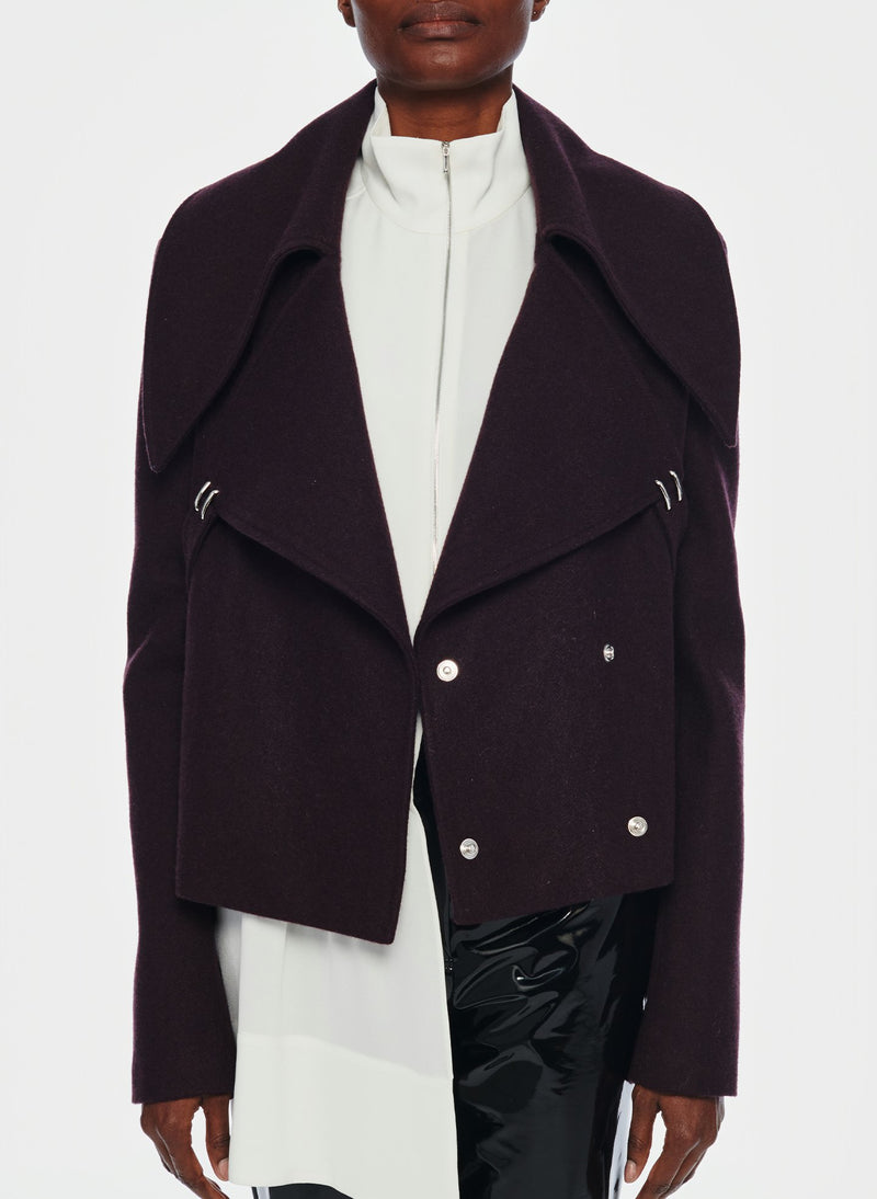 Recycled Wool Cropped Peacoat Plum Brown-5