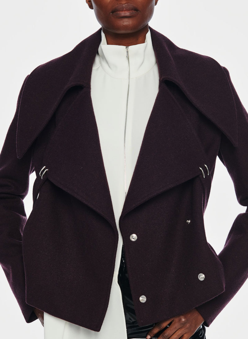 Recycled Wool Cropped Peacoat Plum Brown-6