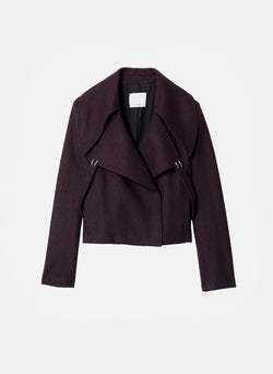 Recycled Wool Cropped Peacoat Plum Brown-7