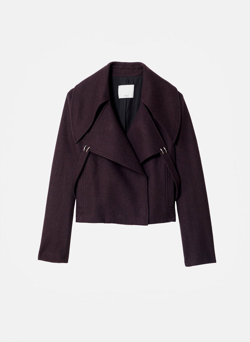 Recycled Wool Cropped Peacoat Plum Brown-15