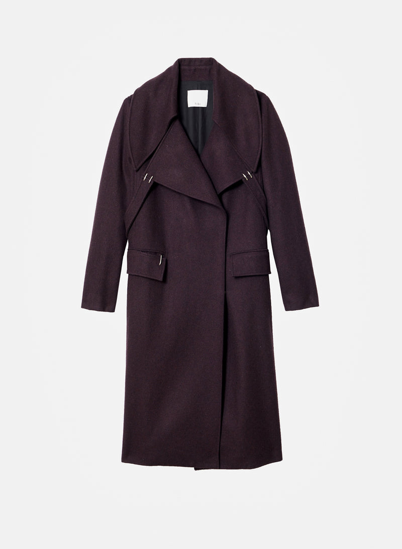 Recycled Wool Maxi Coat Plum Brown-3