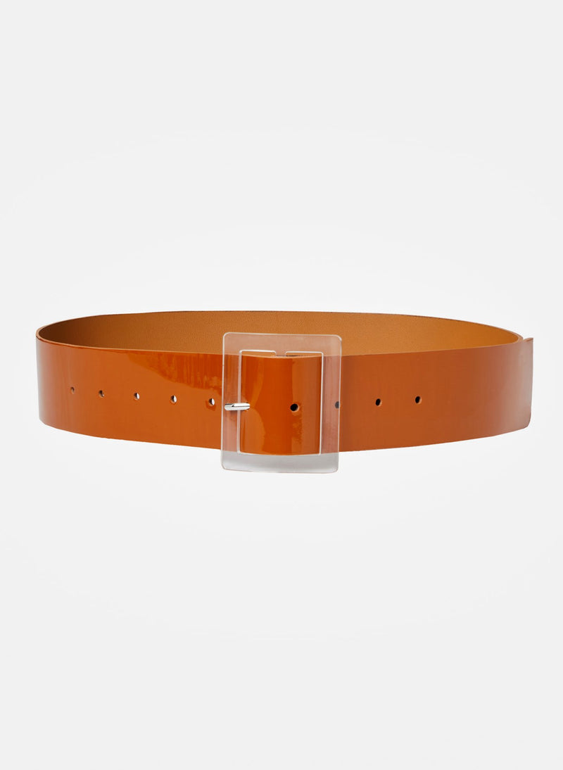 Patent Leather Belt Caramel-15
