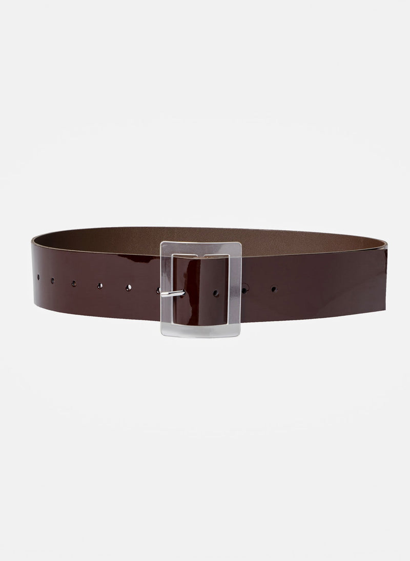 Patent Leather Belt Chocolate-2
