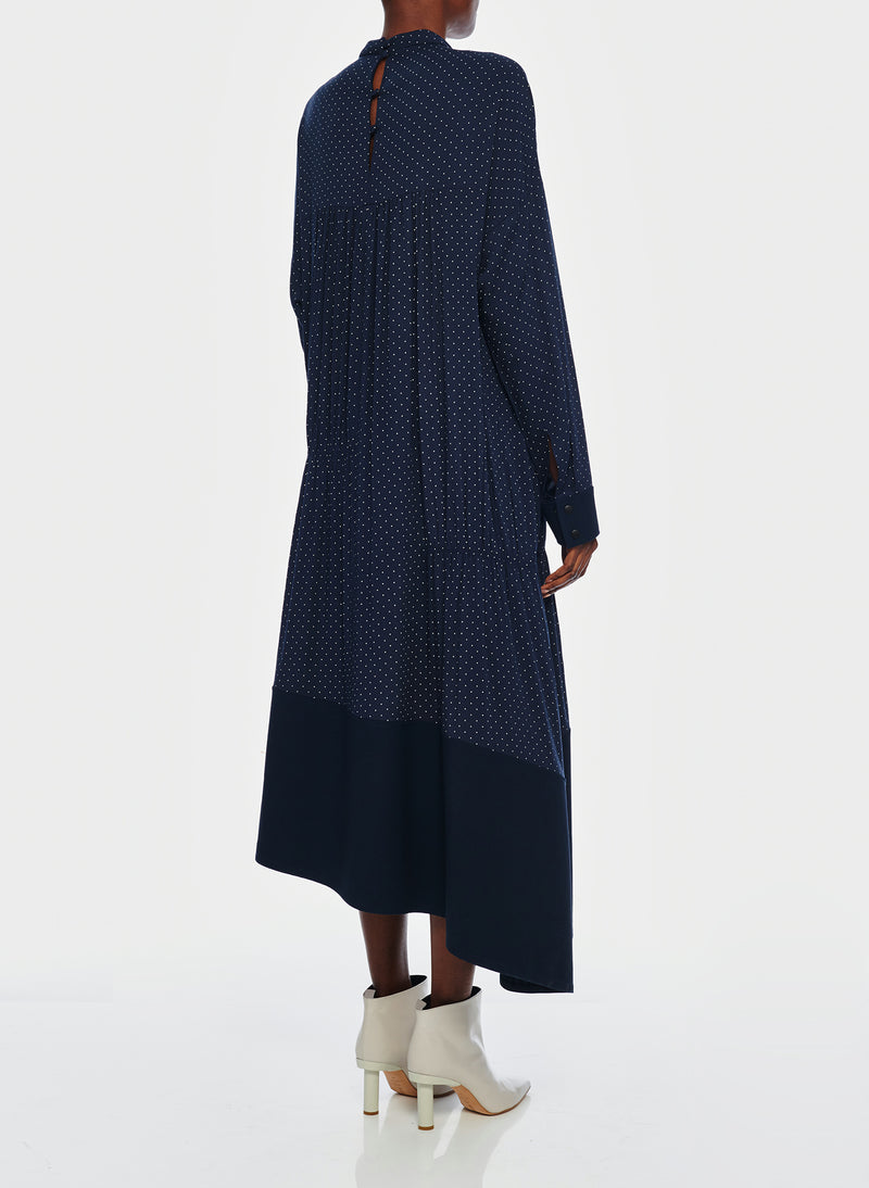 Pindot Shirred Panel Dress Navy Multi-3