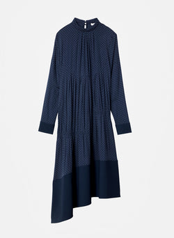Pindot Shirred Panel Dress Navy Multi-7