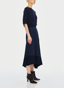 Pindot Shirred Panel Skirt Navy Multi-2