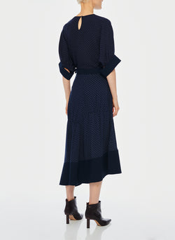 Pindot Shirred Panel Skirt Navy Multi-3