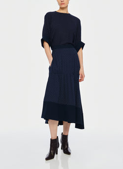 Pindot Shirred Panel Skirt Navy Multi-5