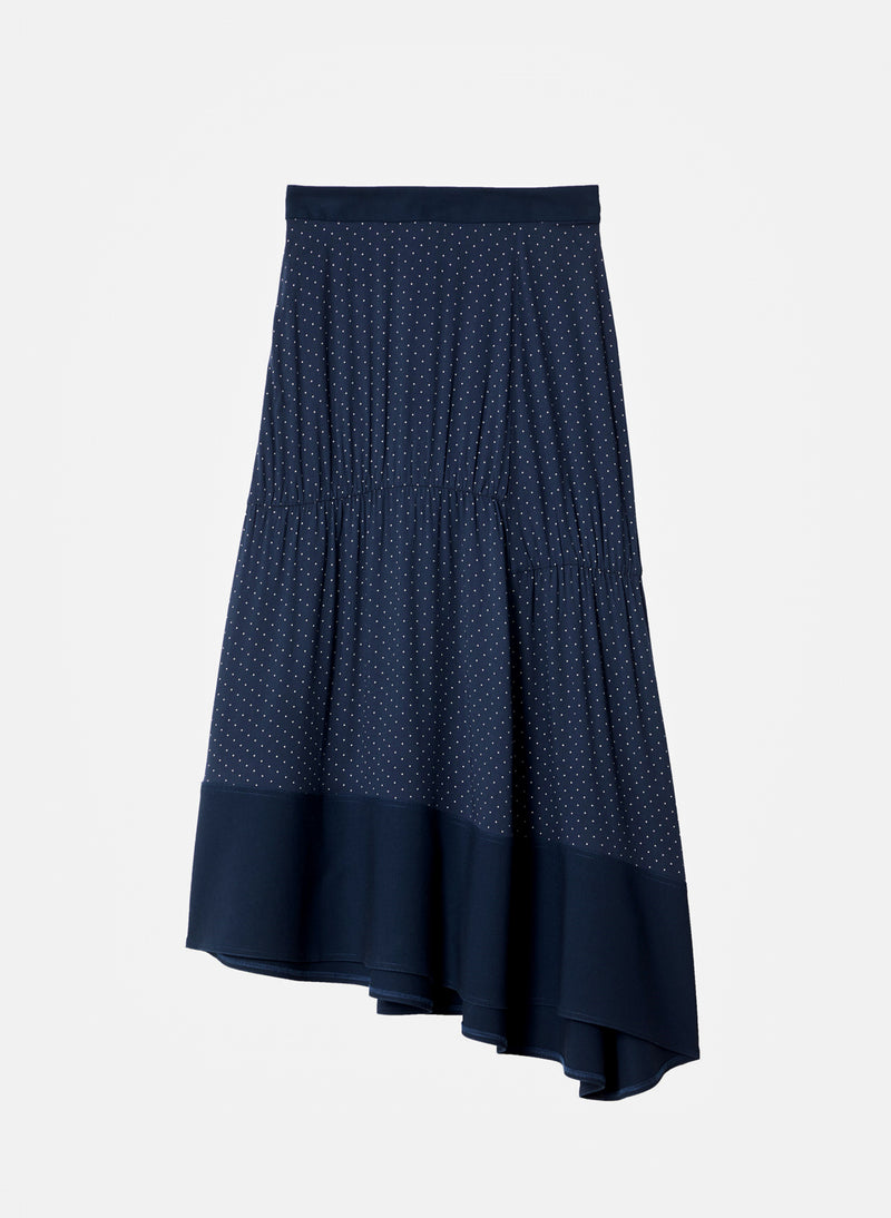 Pindot Shirred Panel Skirt Navy Multi-6
