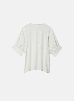 Pindot Shirred Sleeve Top Ivory Multi-7