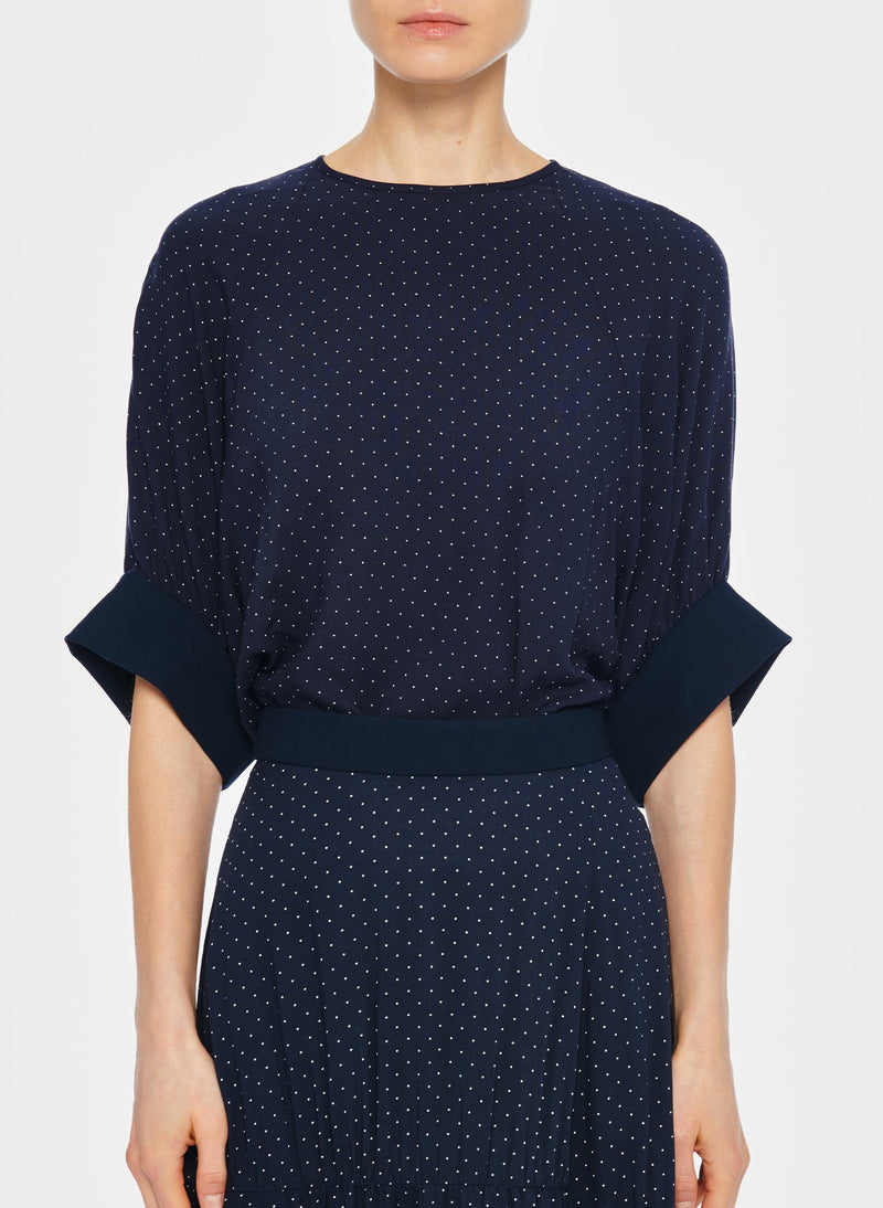 Pindot Shirred Sleeve Top Navy Multi-4