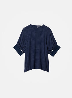 Pindot Shirred Sleeve Top Navy Multi-6