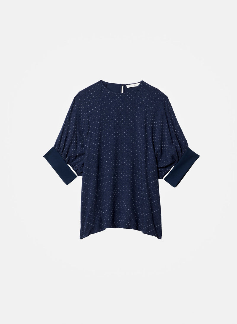 Pindot Shirred Sleeve Top Navy Multi-15