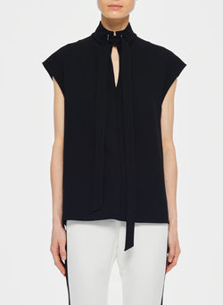 Structured Crepe Sleeveless Tie Neck Top Black-7