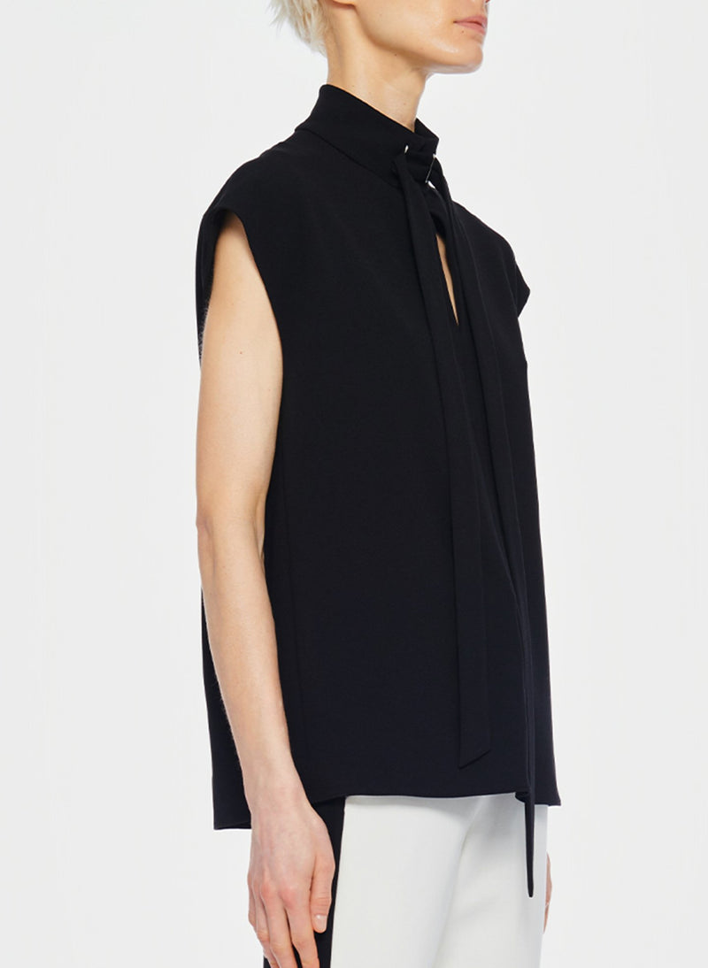 Structured Crepe Sleeveless Tie Neck Top Black-8