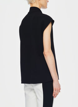 Structured Crepe Sleeveless Tie Neck Top Black-9