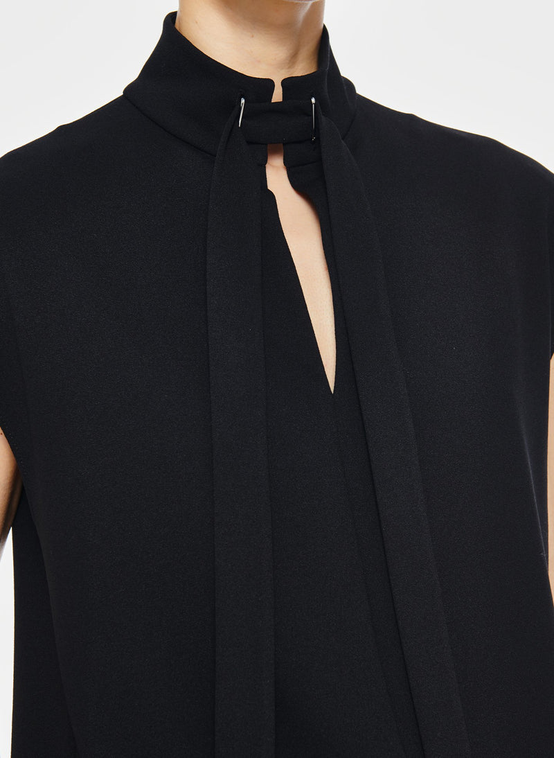 Structured Crepe Sleeveless Tie Neck Top Black-11