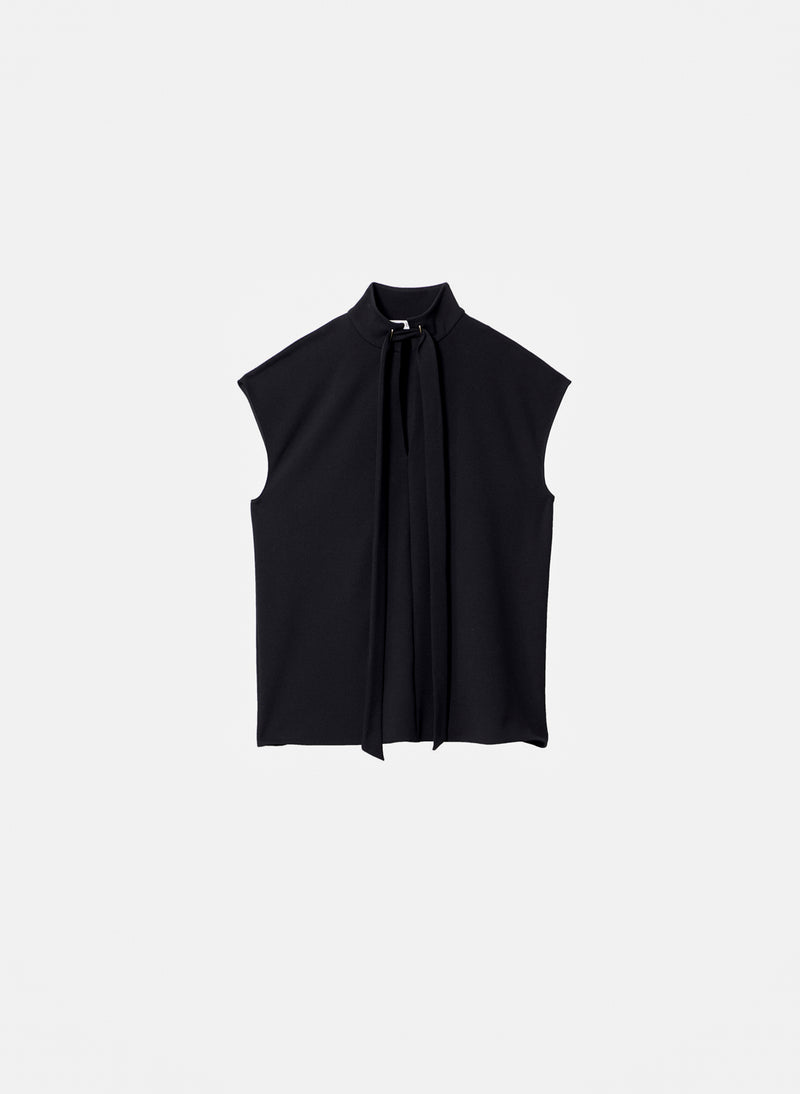 Structured Crepe Sleeveless Tie Neck Top Black-12