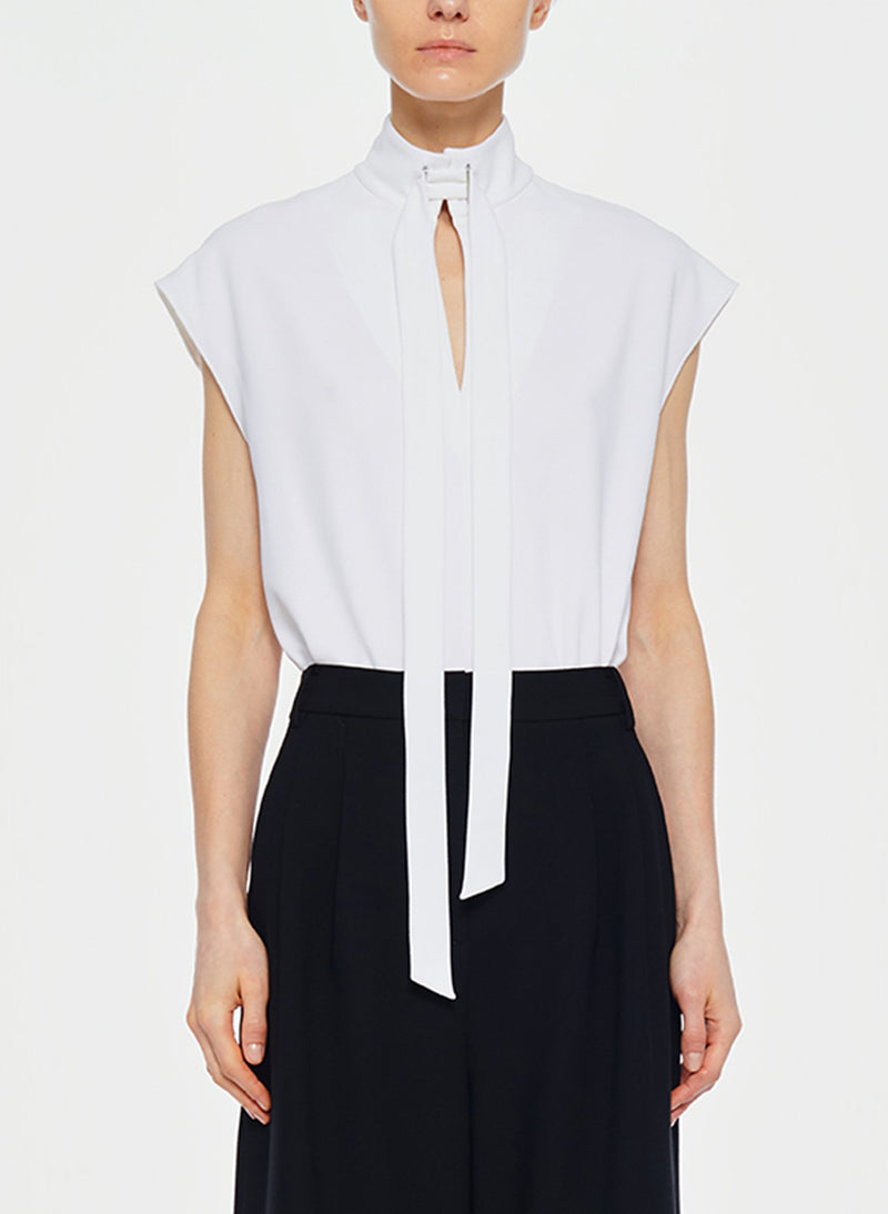 Structured Crepe Sleeveless Tie Neck Top White-1