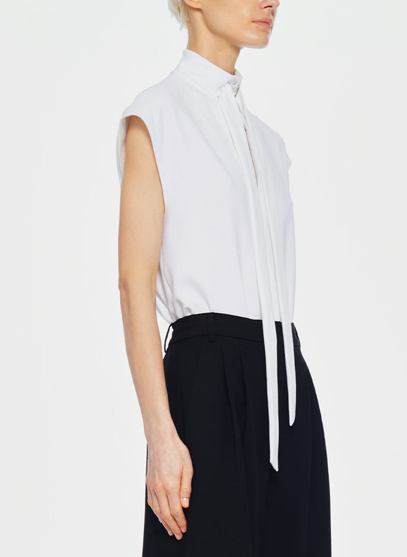 Structured Crepe Sleeveless Tie Neck Top White-2