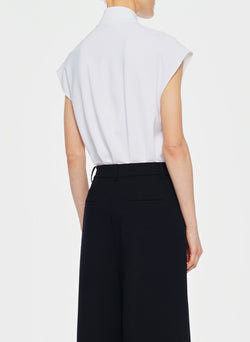 Structured Crepe Sleeveless Tie Neck Top White-3